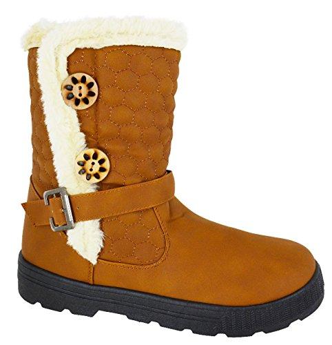 Sole mujer invierno de pantorrilla A piel tamaño de media oveja 3 KHAKI señoras botas de zapatos de nieve 8 para piel Otras sintética Grip cálidas EqYaInw