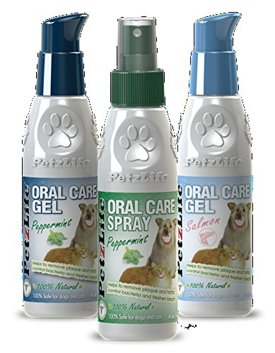 Petzlife Oral Care Triple Pack: 1 Spray (2.2 oz), 1 Peppermint Gel (4 oz), and 1 Salmon Gel (4 oz)