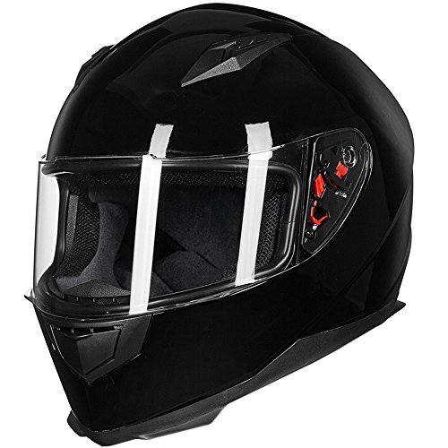 ILM Full Face Motorcycle Street Bike Helmet with Removable Winter Neck Scarf + 2 Visors DOT (M, Gloss Black)