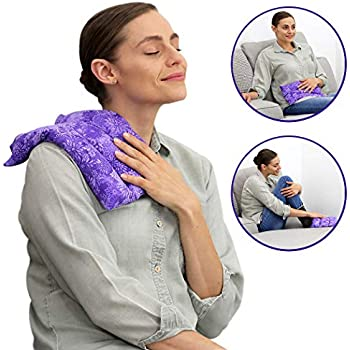Lumbar Heating Pad Microwavable - Flexible & Easy to Use Hot and Cold Aromatherapy Pack for Back Pain Relief, Neck Pain, Body Aches and Stiffness, Headaches, and Cold Weather Relief - Purple Flowers