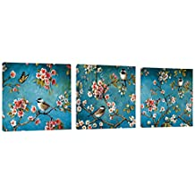 """Canvas Wall Art American Birds and Flowers Wall Decor 36"""" x 12"""" Canvas Prints Artwork Pictures Painting on Canvas for Living Room Home Decoration"""