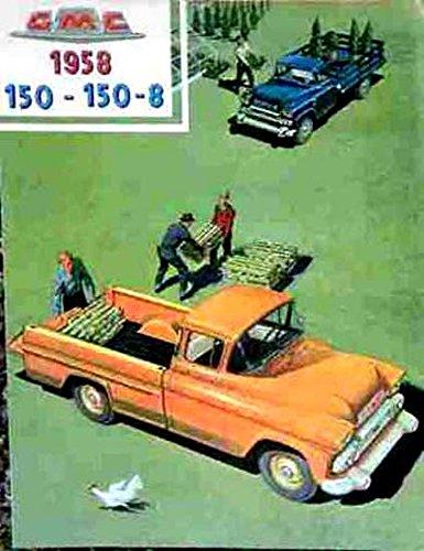 HISTORIC FULL COLOR 1958 GMC 100 and 100-8 PICKUP & TRUCK BEAUTIFUL & HISTORIC DEALERSHIP SALES BROCHURE - ADVERTISMENT Includes Suburban, Platform, Stake Rack, Panel - GM (Eight Brochure Racks)