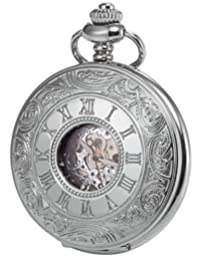 KS Vintage Silver Hollow Case Roman Numerals White Dial Mechanical Pocket Watch KSP030