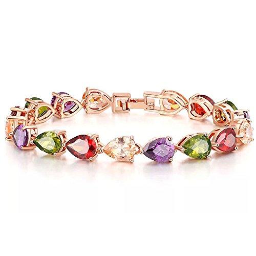 Lanzy Women's Multicolor Full Teardrop Cubic Zirconia Roman Tennis Bracelet Rose Gold Tone