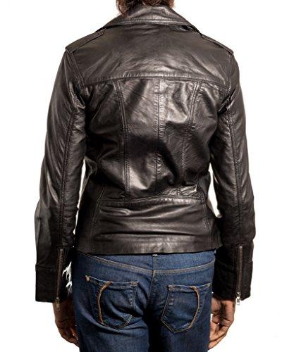 Nero Nero Nero Donne Donne Donne Donne con giacca Biker moda morbida alla frontale pelle cerniera qfnwfZdrCx