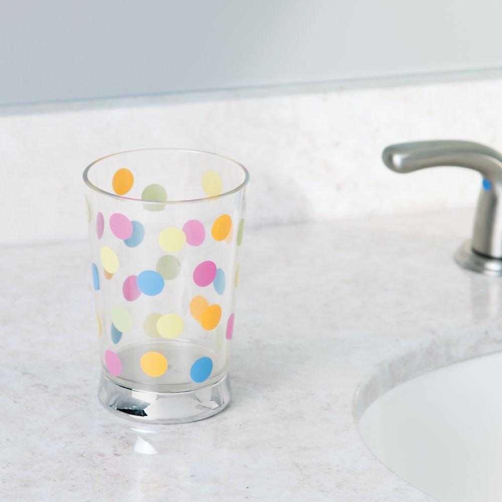 InterDesign Glee Bath Clear Tumbler Cup for Bathroom Vanity Countertops