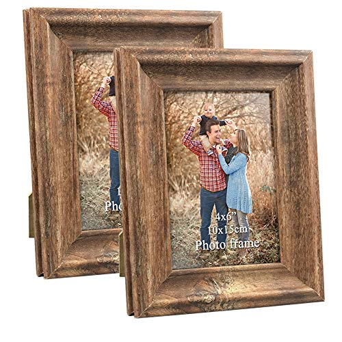 Wood Photo Frames (4x6 Picture Frames Set of 2 Vintage Brown Rustic Wood Family Art Photo Frame for Tabletop Stand or Wall)