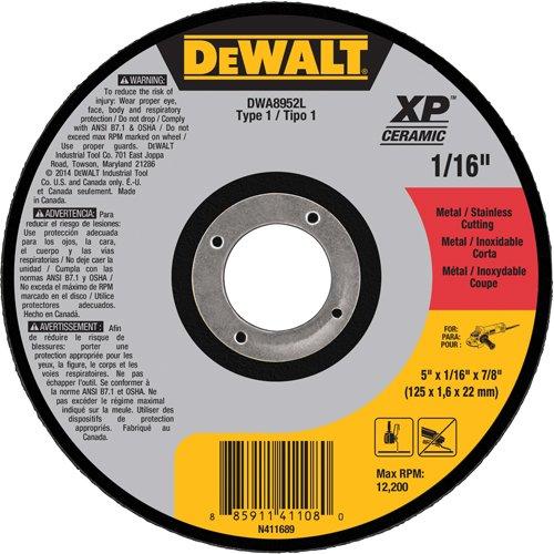 DEWALT DWA8952L  5 x 1//16 x 7//8 XP Ceramic Type 1 Metal Stainless Cutting Wheel