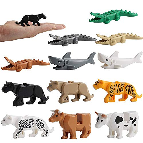 LC JoyCre 12 pcs Wild Animal Shark Crocodile Cow Leopard Action Figures Model Toys Party Cake Decoration School Project Birthday Gifts Cognitive Toys for 5 Years Old Boys Girls Kid