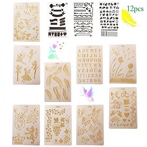 Stencil Doodle (Bullet Journal Stencil Set Plastic Planner Stencils,Template plastic for Notebook/Diary doodle 12 Pcs (Stencil Set))