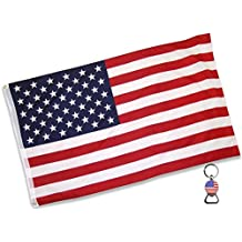 American Flag (3x5 Feet) - 100% Super Polyester Material - With FREE Bonus - Large US USA Flag With Brass Grommets - Perfect Banner For Hanging Indoor/Outdoor by Eugenys