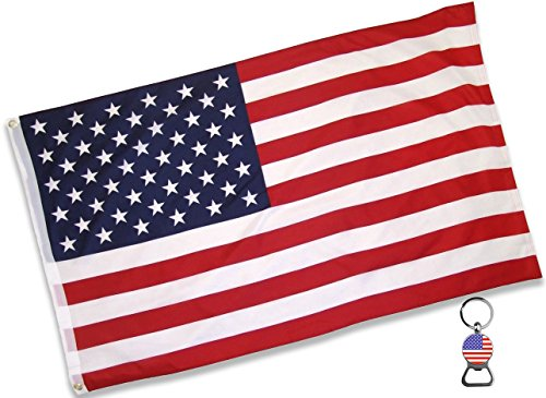 Hand American Flag Decal (American Flag (3x5 Feet) - 100% Super Polyester Material - With FREE Bonus - Large US USA Flag With Brass Grommets - Perfect Banner For Hanging Indoor/Outdoor by Eugenys)
