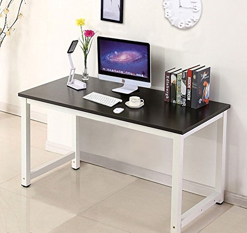 Wood Computer Laptop Workstation Desk Best Furniture Design for Home Office (Black)