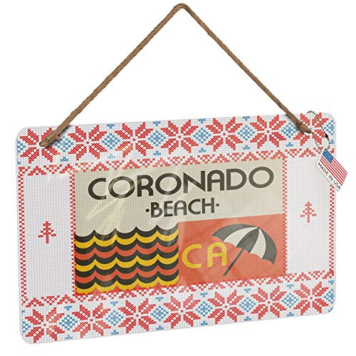 (NEONBLOND Metal Sign US Beaches Retro Coronado Beach Vintage Christmas Decoration)