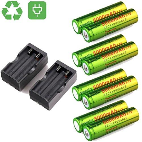 Dreamyth New 8PCS 5000mAh BRC 3.7v 18650 Rechargeable Li-ion Battery+2 X Dual Smart Charger (Black +green)