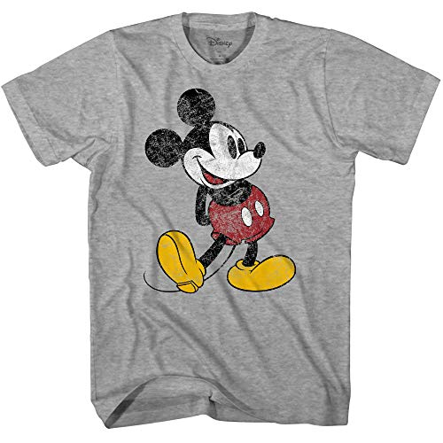 (Disney Mickey Mouse Classic Distressed Standing T-Shirt (Heather Grey, XXX-Large))
