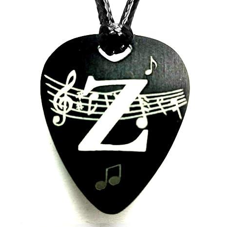 Colgante Inicial Púa Guitarra Aluminio Anodizado Negro (Z): Amazon ...