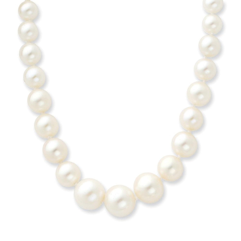 14ct 4-9mm degradado blanco collar de perla cultivada de agua dulce - 45,72 cm - JewelryWeb