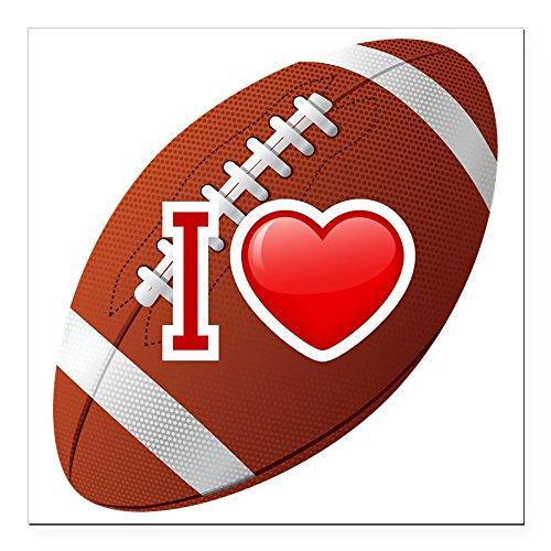 Square Car Magnet 3 x 3 Inch I Love Football