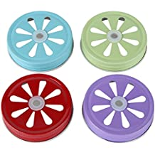 Lily's Home Decorative Daisy Cut Lids for Mason Jars Canning Drinking Favor Jars. Assorted 4 Colors