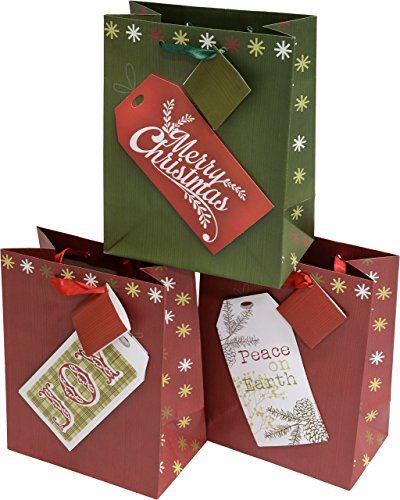 "12 medium christmas gift bags with kraft gift tag designs, set of 12 bags, 8 3/4"" x 7"" x 4"""
