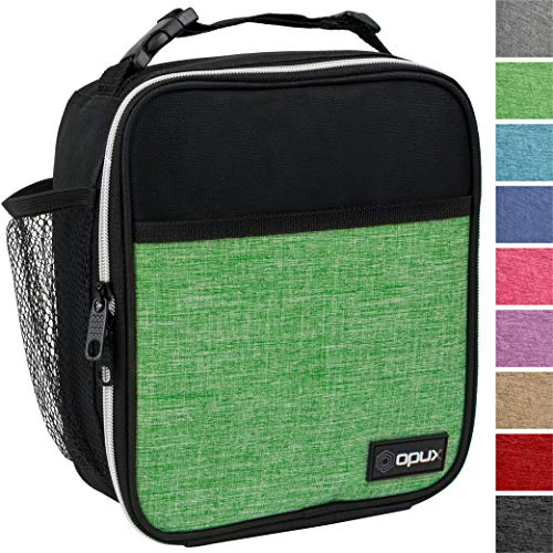 OPUX Premium Insulated Lunch Box | Soft Leakproof School Lunch Bag for Kids, Boys, Girls | Durable Reusable Work Lunch Pail Cooler for Adult Men, Women, Office - Fits 6 Cans (Heather Green)