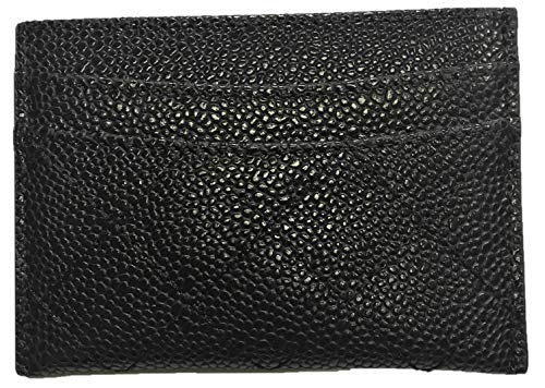 Caviar Leather - Credit Card Holder, Thin Wallet for Women and Men - Quilted Pebbled Leather (Black)