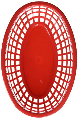 (TableCraft H1074R6 6-Piece Classic Oval Plastic Baskets, Red)