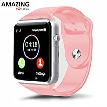 Amazingforless Bluetooth Touch Screen Smart Wrist Watch Phone with Camera (Pink)