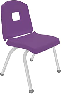 """product image for Creative Colors 1-Pack 14"""" Kids Preschool Stackable Split Bucket Chair in Purple with Platinum Silver Frame and Ball Glide"""
