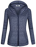 Hibelle Hoodies for Women, Ladies Long Sleeve Front Kangaroo Pocket Space Dye Comfortable Hoody Tops Dry-Fit Relaxed Fit Breathable Sporty Sweater Sweatshirt Blue Large