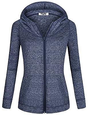 Hibelle Hoodies for Women, Ladies Long Sleeve Front Kangaroo Pocket Space Dye Comfortable Hoody Tops Dry-Fit Relaxed Fit Breathable Sporty Sweater Sweatshirt Blue Large