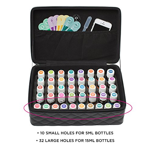 (Essential Oil Carrying Case by Element Design - Large 42 Bottle Total Capacity - 32 Large Holes for 15ml Bottles & 10 Small Holes for 5ml Bottles & 10ml Rollers (Black))