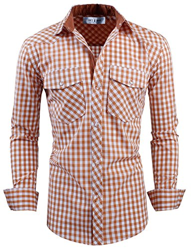 Buffalo Camel - Tom's Ware Mens Classic Slim Fit Buffalo Plaid Longsleeve Shirt TWCS11-CAMEL-M US