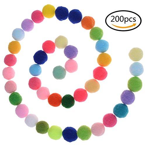 TUANTUAN 200 Pcs Rainbow Fuzzy Pom Pom Balls Mini Fluffy Pompoms Ball for DIY Craft Sewing (Fuzzy Cotton)
