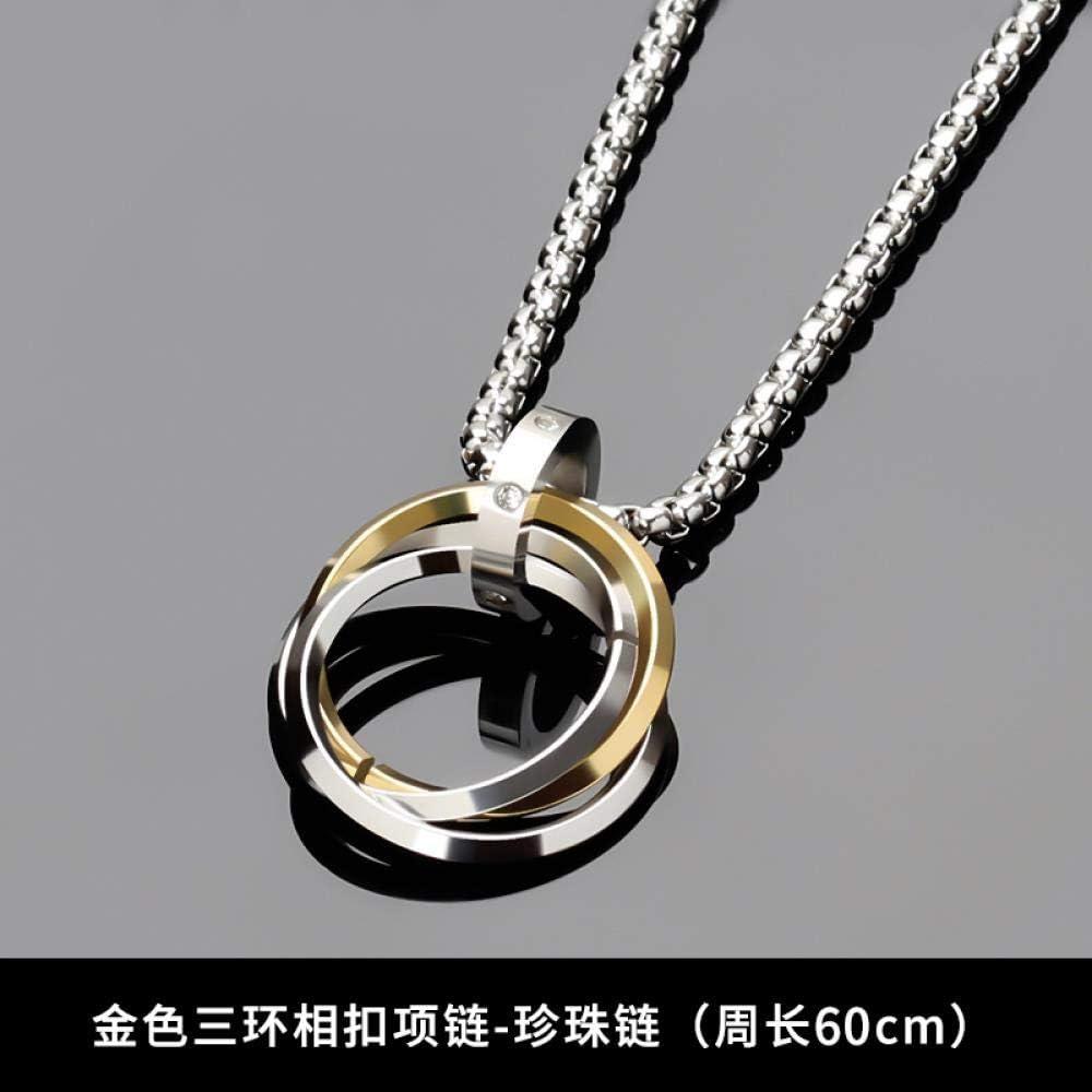 SHUX Collar Colgante Collar para Hombre Colgante Hip Hop Accesorios Joyas de Acero de Titanio, Tres Anillos entrelazados Oro + Cadena de Perlas 60Cm + Correa de Cuero + Pulsera de Moda