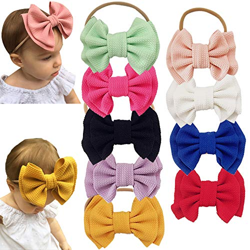 Big Bow - Baby Nylon Knotted Headbands Girls Head Wraps Newborn Infant Toddler Hairbands and Bows (Multicoloured ASFK621)