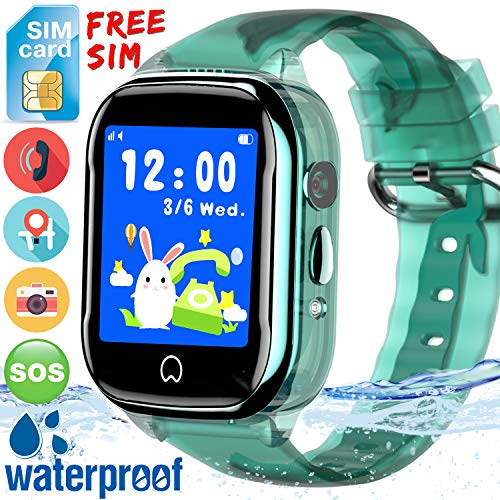 (Kidaily Kids Smart Watch Phone - [Free SIM Card]2019 New Waterproof Kids Smartwatch with GPS Tracker Cell Phone for Boys Girls SOS Anti-Lost Camera Game Toy Child Digital Wrist Watch)