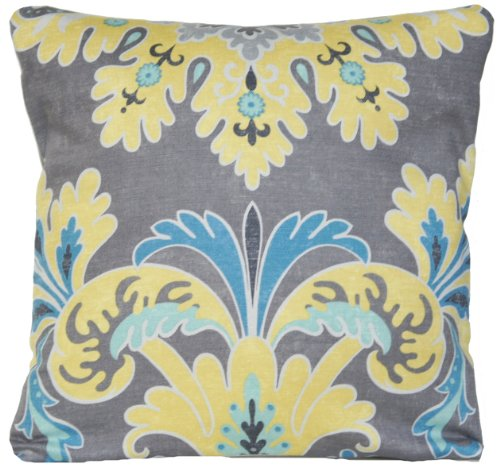 Yellow Floral Design Decorative Pillow Case Grey and Blue Cu