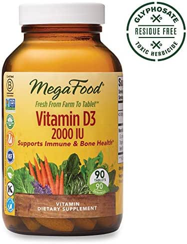 MegaFood, Vitamin D3 2000 IU, Immune and Bone Health Support, Vitamin and Dietary Supplement, Gluten Free, Vegetarian, 90 Tablets (90 Servings) (FFP)