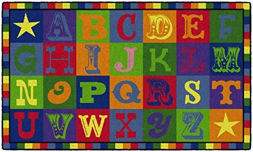 Flagship Carpets Early Blocks Rug, Children's Classroom Educational Carpet, 3'x5', Rectangle