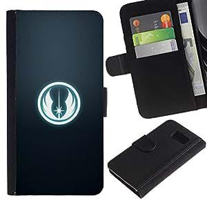 LECELL--Cuero de la tarjeta la carpeta del tirón Smartphone Slots Protección Holder For Samsung Galaxy S6 -- Tusken Raiders --