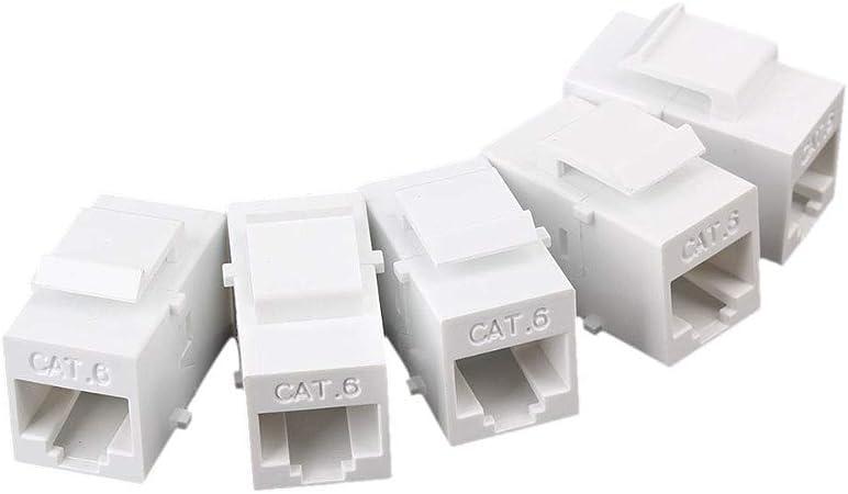 White 20 Pack CAT5e Inline Coupler Keystone RJ45 Female Snap-In Jack Insert