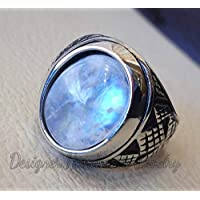 Blue flashy rainbow moonstone men ring natural stone sterling silver 925 stunning genuine gem ottoman arabic style jewelry all sizes