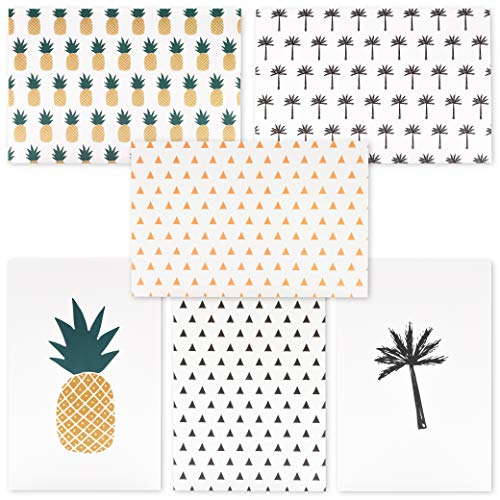 Palm Tree Stationary - Best Paper Greetings 48-Pack All Occasion Tropical Hawaiian Blank Note Cards Bulk Box Set - 6 Pineapple and Palm Tree Designs with Envelopes, 4 x 6 Inches