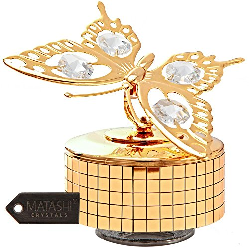 24K Gold Plated Music Box with Crystal Studded Butterfly Figurine by Matashi