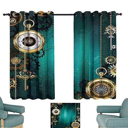 (DILITECK Customized Curtains Industrial Antique Items Watches Keys and Chains with Steampunk Influences Illustration Thermal Insulated Tie Up Curtain W55 xL45 Multicolor)