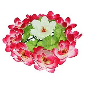 D DOLITY Artificial Lotus Flower Wreath Funeral Cemetery Grave Flower Decoration - C 78
