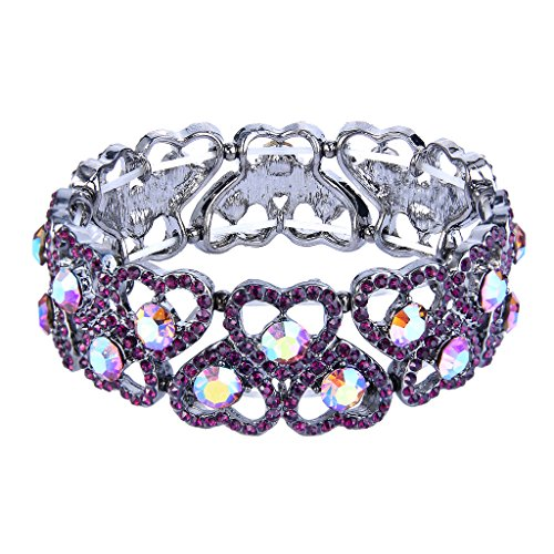 (EVER FAITH Women's Austrian Crystal Sweet Love Heart Bridal Elastic Stretch Bracelet Purple Silver-Tone)