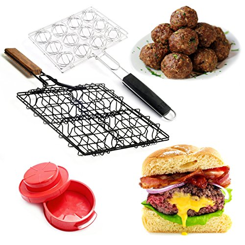 Bundle Stuffed Hamburger Meatball Grilling Baskets Press Set Steven Raichlen Maker Rack